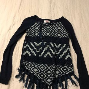 Justice blue knit sweater with fringe